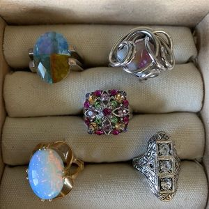 Vintage costume mystical stone rings